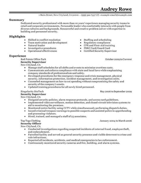 security resume template sle resume for security guard no experience and
