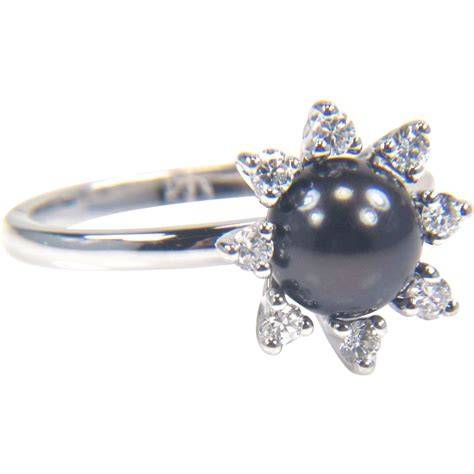 black pearl ring and pearl ring black cultured