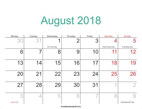 august 2018 calendar printable with holidays pdf and jpg