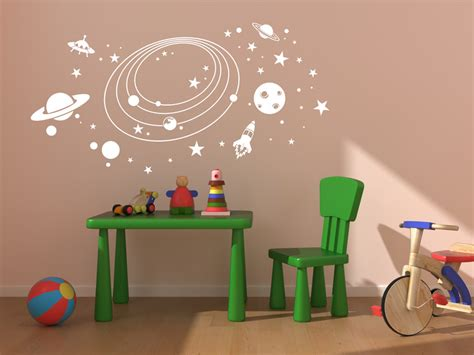 Wandtattoo Kinderzimmer Putz by Wandtattoo Weltraum Planeten Wandtattoo Kinderzimmer