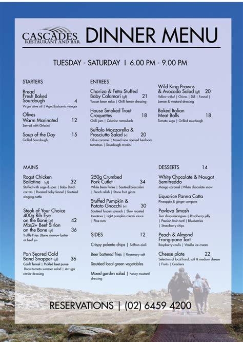 summer dinner menu cascades restaurant thredbo alpine hotel thredbo resort
