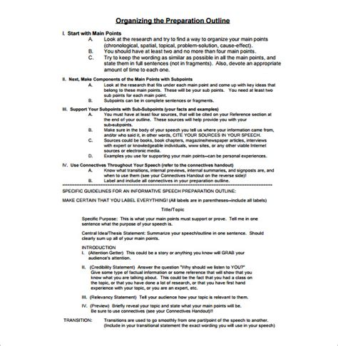 presentation outline template 26 free sle exle