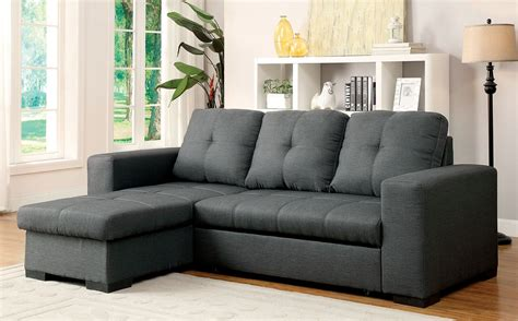 furniture of america sofa denton gray fabric sectional from furniture of america