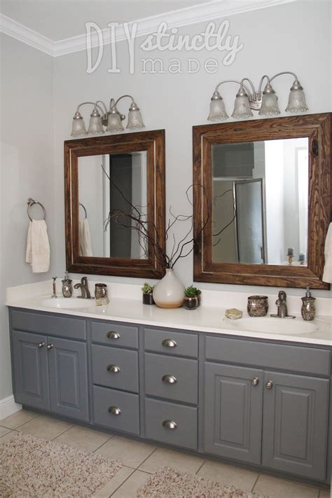 gray and brown paint scheme painted bathroom cabinets gray and brown color scheme