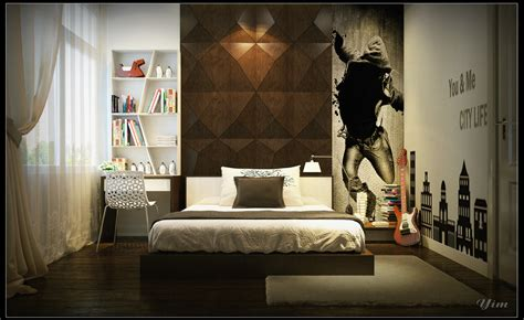 Warm And Cozy Rooms Rendered By Yim Lee Bedroom Wall Design