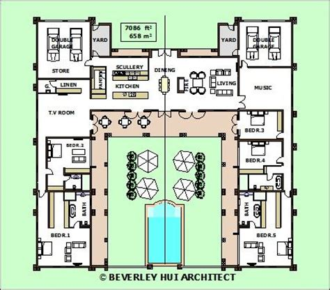 H Shaped House Plans | h shaped house plans with pool in the middle pg3