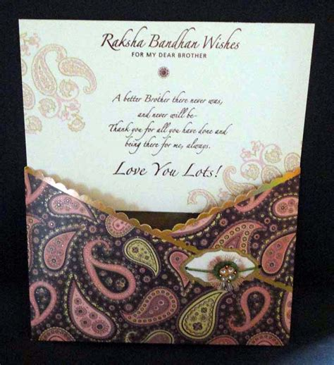Handmade Greeting Cards For Raksha Bandhan - large sized rakhi greeting card for with rakhi