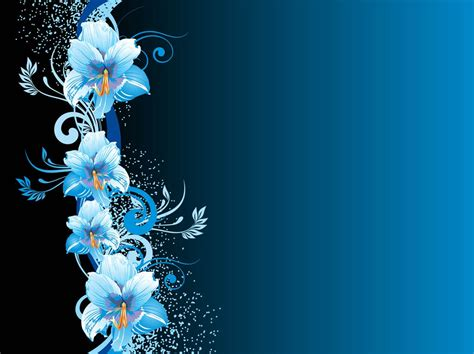 Blue Flowers Background Vector Art Graphics Freevector Com Blue Flower Powerpoint Backgrounds Hd Free Wallpaper