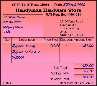 Credit Note Template South Africa Credit Note And Debit Note