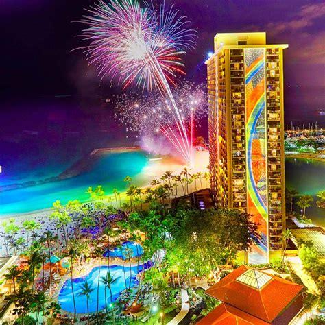 Rainbow Tower the rainbow tower and fireworks at the hawaiian