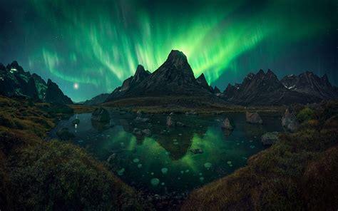 nature landscape aurorae mountain lake grass shrubs
