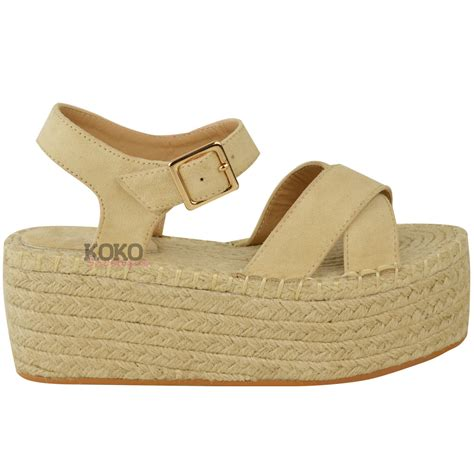 womens flatforms espadrille wedge ankle strappy