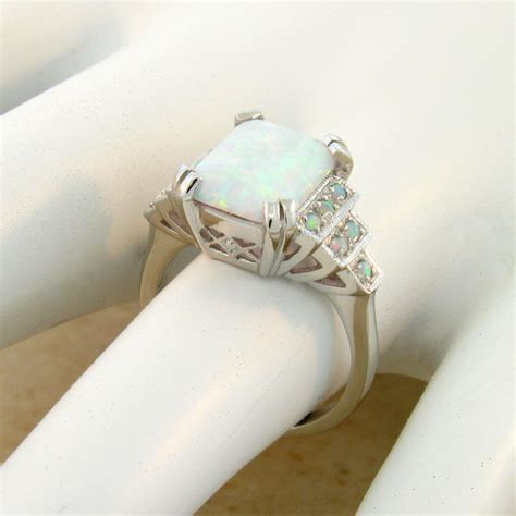 white lab opal antique deco style 925 sterling silver