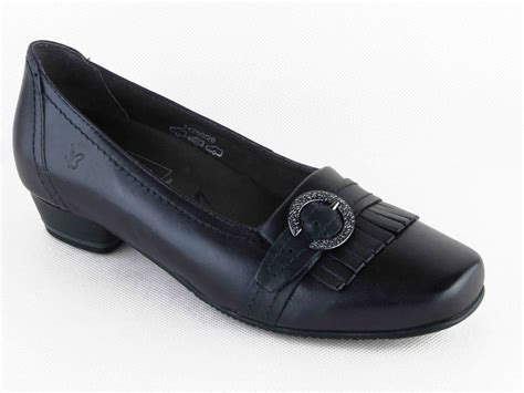 caprice wide fit navy casual shoes womens low heels