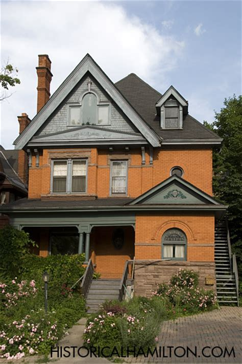 historic orange brick house front at historical hamilton
