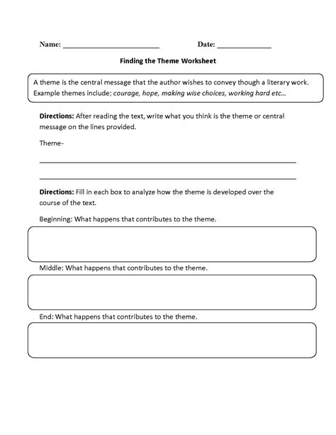 theme definition for 3rd grade 15 best images of determining theme worksheets theme