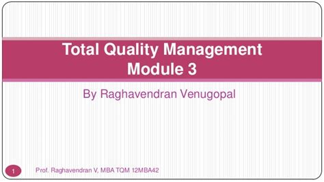 Mba Quality Management by Vtu Mba Tqm 12mba42 Module 3