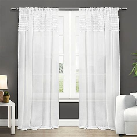 semi sheer curtains white exclusive home barcelona 84 inch rod pocket semi sheer
