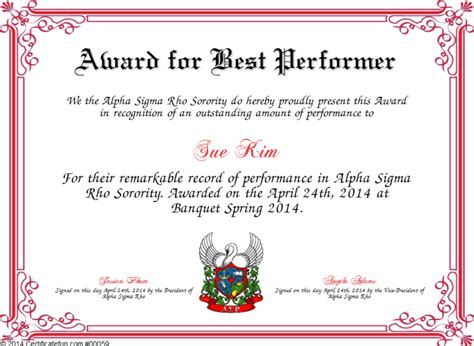 performer certificate templates award for best performer certificate created with
