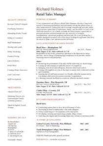 Retail Manager Sle Resume by Sales Manager Cv Template Purchase