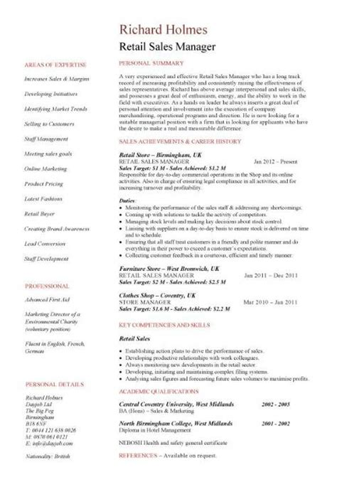 Sle Retail Manager Resume Template Sales Manager Cv Template Purchase