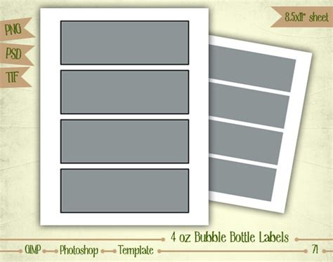 4 oz bubble bottle labels digital collage sheet layered