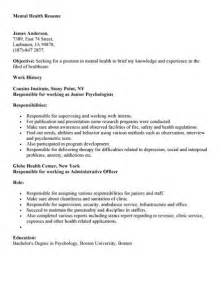 mental health resume exle student resume template