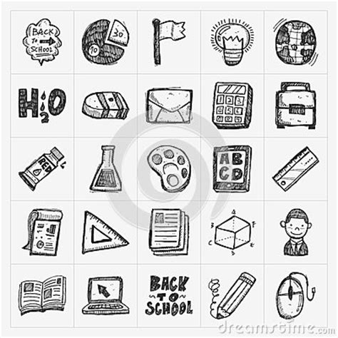 doodle and draw set back to school doodle draw icon set stock vector