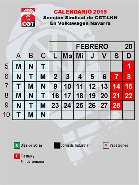 Calendario Definitivo Calendario Definitivo De Enero De 2015 Cgt Lkn Volkswagen