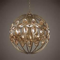 Sphere Crystal Chandelier Gold Sphere Round Chandelier Amber Crystal Ball Ebay
