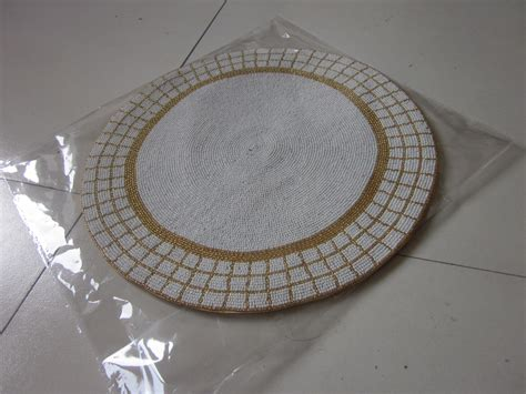beaded table runners wholesale gold and white handmade beaded placemat set glass