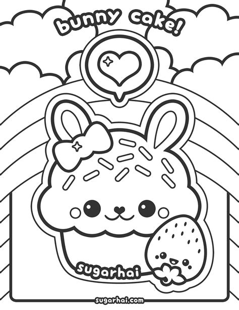 kawaii coloring book free bunny cake coloring page kawaii