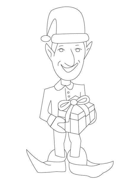 elf hat coloring sheet coloring pages