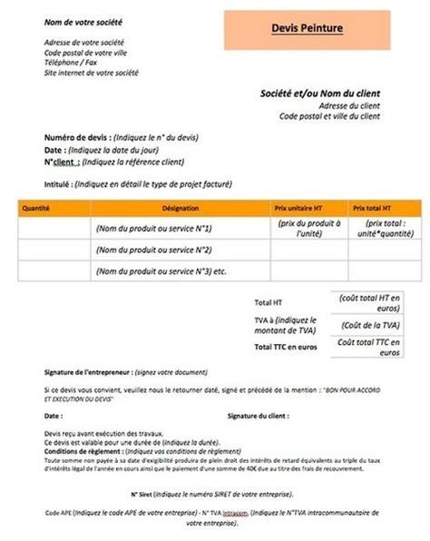 Devis Pour Travaux Appartement 3706 by Comment Faire Un Devis Peinture Et Exemple De D