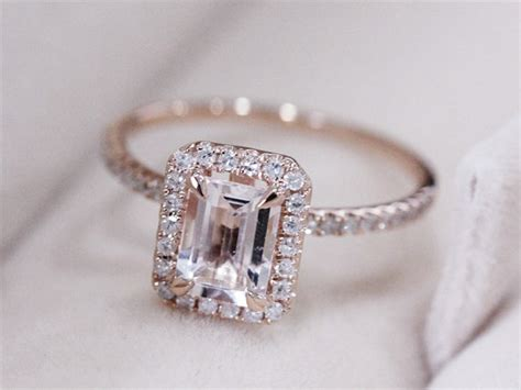 pink emerald cut rings wedding promise