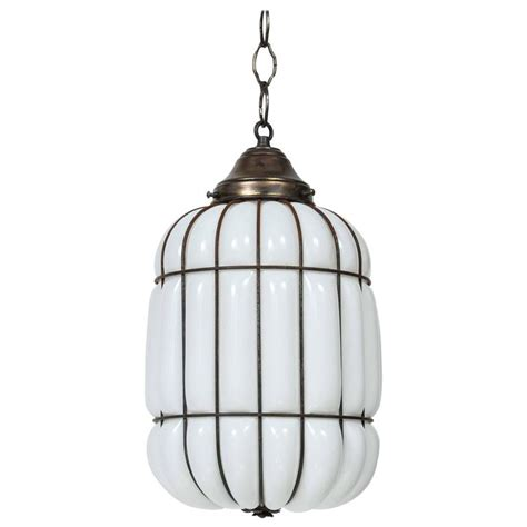 Caged Pendant Light Deco Caged Milk Glass And Iron Pendant Light At 1stdibs