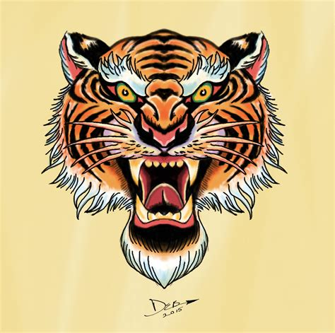 traditional tiger head tattoo royal bengal tiger flash in the style of flash