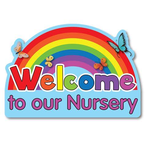nursery rainbow welcome sign