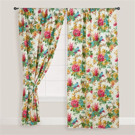 Tropical Window Curtains Parrot Ornithology Curtain Tropical Curtains By Cost Plus World Market