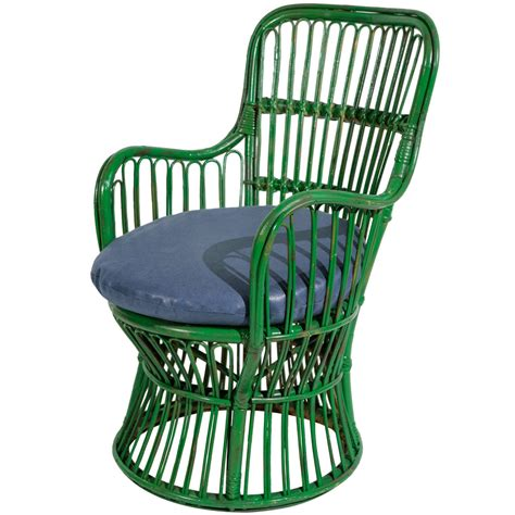 Small Green Armchair Green Wicker Armchair In The Style Of Gio Ponti And Lio