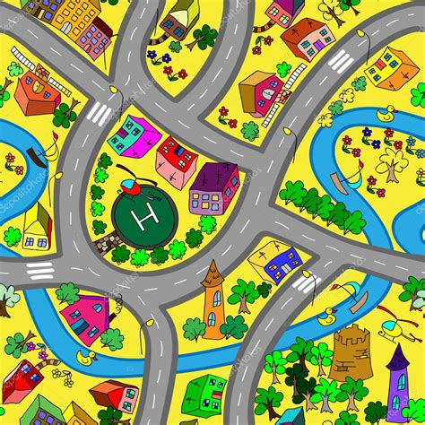 kinderteppich meterware map seamless pattern roads cars and houses