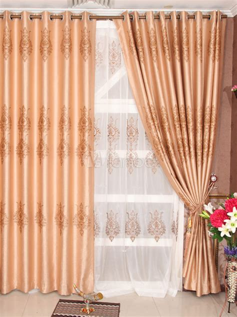 apricot colored curtains fashion deep apricot color jacquard polyester chic
