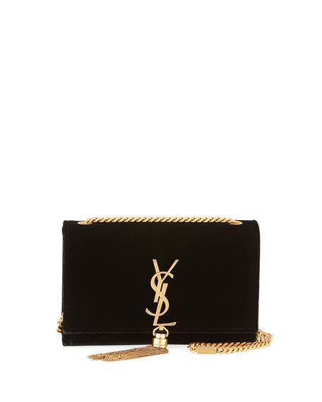 saint laurent kate small monogram velvet tassel bag black