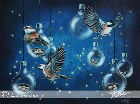 acrylic painting to light or light to chickadees light bulbs lachri