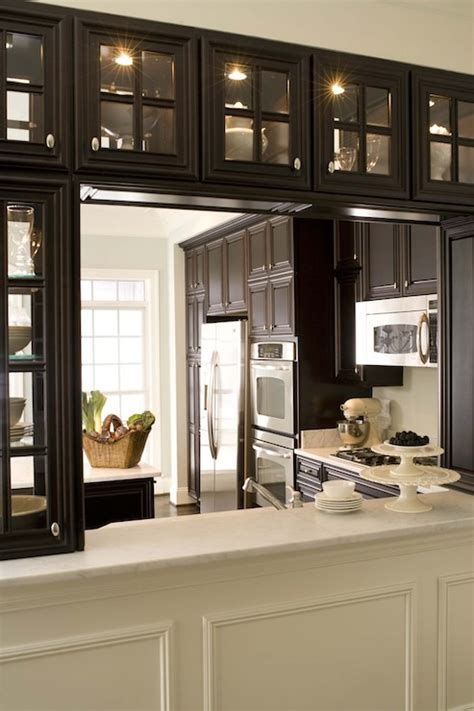 double sided glass kitchen cabinets kitchen pass through transitional kitchen dream