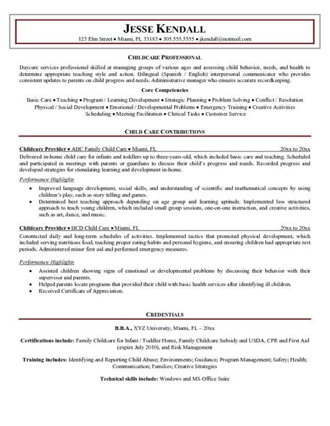 Resume Objective Exles Child Care objective for childcare resume resume ideas