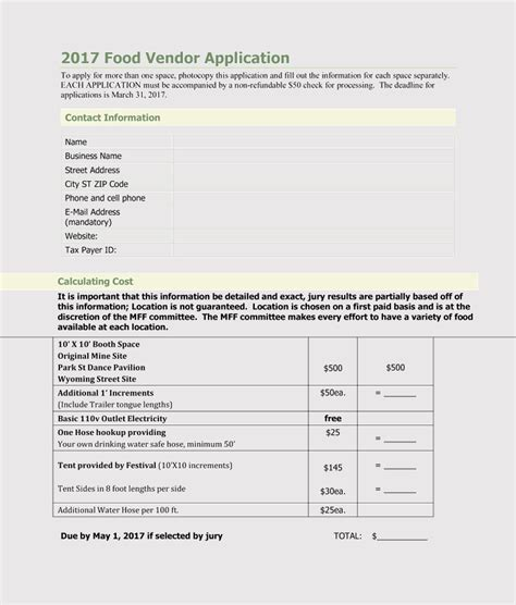 printable blank vendor registration form templates