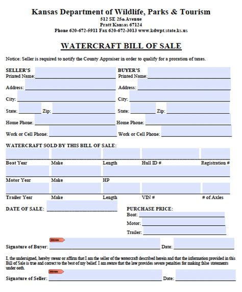 kansas boat bill of sale free kansas boat bill of sale form pdf word doc