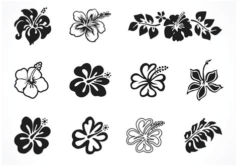 flower tattoo vector free free vector hibiscus silhouettes download free vector