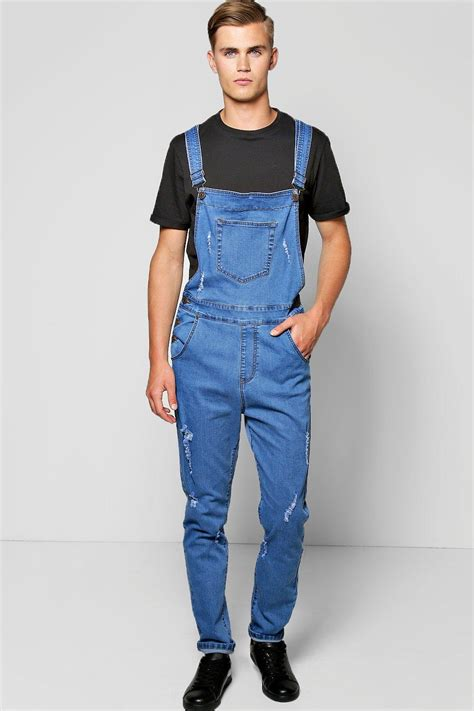 Denim Overalls The Next Big Trend by Slim Fit Denim Dungarees With Rips At Boohoo